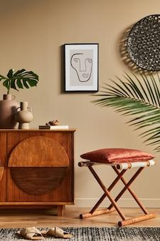 Design d'interni di un soggiorno unico con un elegante modello di arredamento moderno per la casa vintage comò
