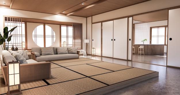 Interior design, soggiorno moderno zen in stile giapponese