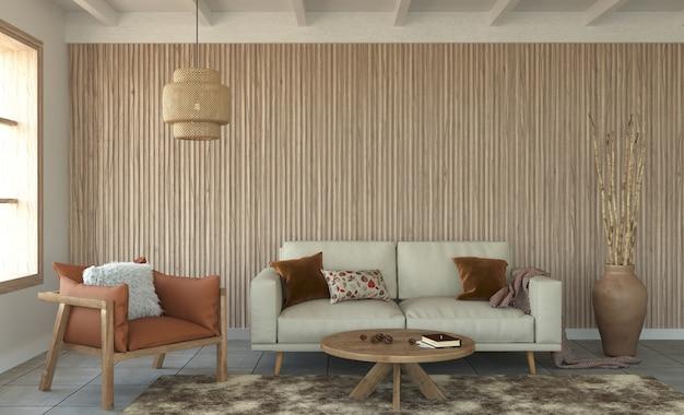 Design interno del soggiorno con pareti in doghe di legno decorative e mobili in legno, rendering 3d