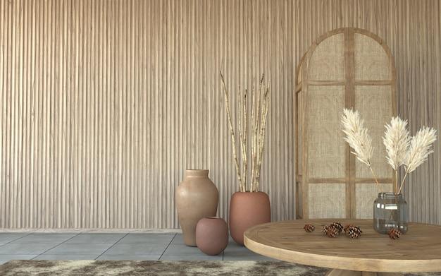 Interior design con pareti in doghe di legno decorative e vasi in argilla, rendering 3d