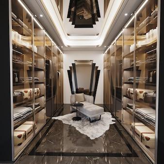 Interno del design spogliatoio con armadio e sedie, rendering 3d