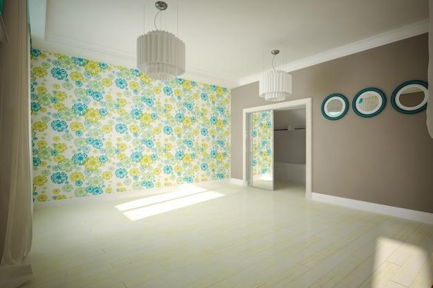 Stanza vuota interna in stile moderno. interior design