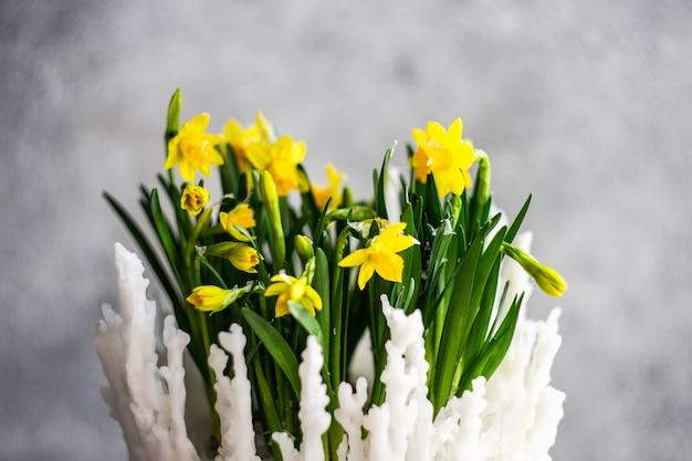 Composizione floreale interna con narcisi gialli luminosi