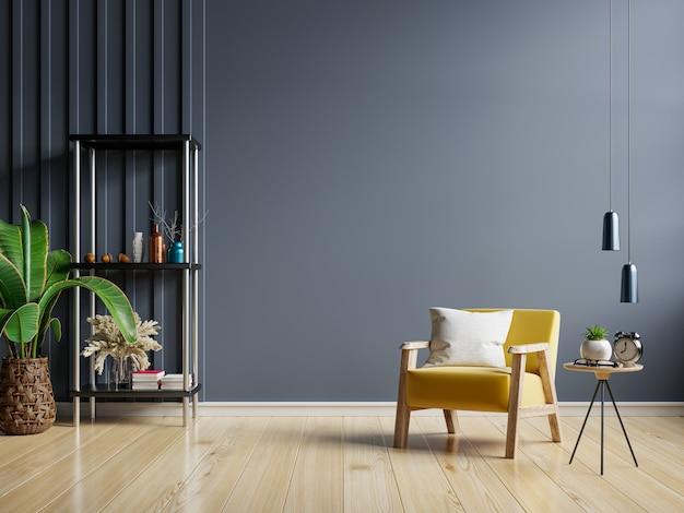 L'interno ha una poltrona gialla su sfondo scuro muro vuoto, rendering 3d