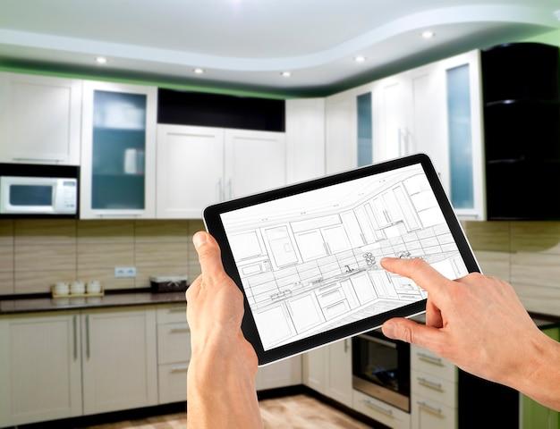 Piano di layout interno su computer tablet. attività commerciale. cucina
