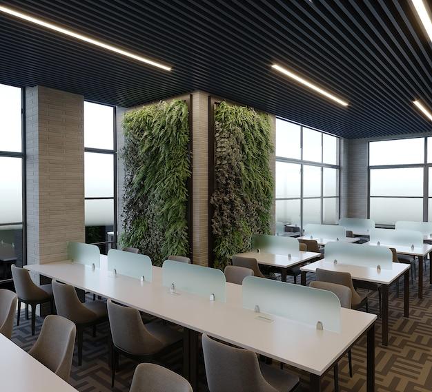 Interno di una libreria di design con tavolo e sedia, rendering 3d