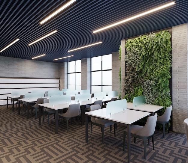 Interno di una libreria di design con tavolo, sedia e scaffale, rendering 3d