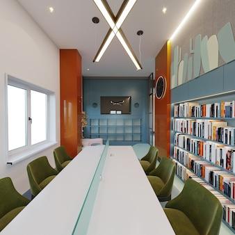 Interno di una libreria con scaffale per libri, tavolo e sedie verdi, rendering 3d