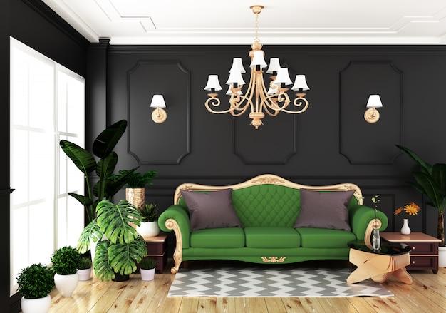 Stile classico di lusso vivente interno, parete nera della decorazione sul pavimento di legno, rappresentazione 3d