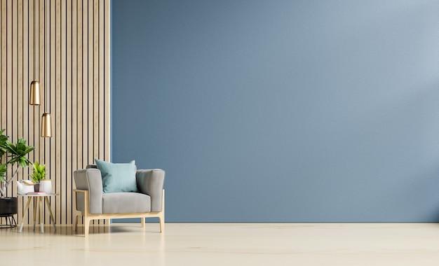 Decorazione del soggiorno interno con sulla parete blu scuro vuota, rendering 3d
