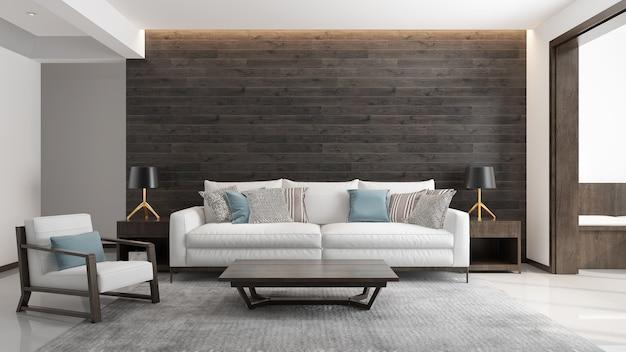 Soggiorno interno in stile moderno, divano bianco con legno scuro