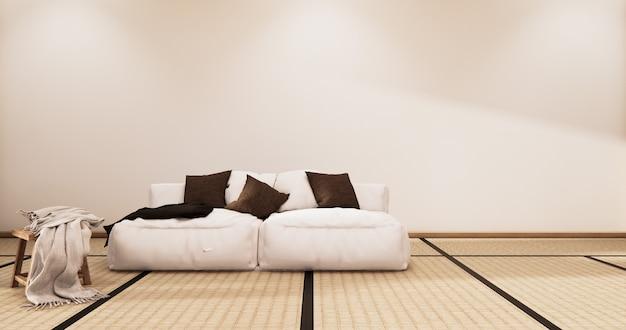 Interni soggiorno in stile tropicale con design a parete. rendering 3d