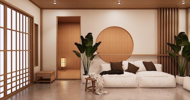 Interni soggiorno in stile tropicale con pareti in granito design. 3d rendering