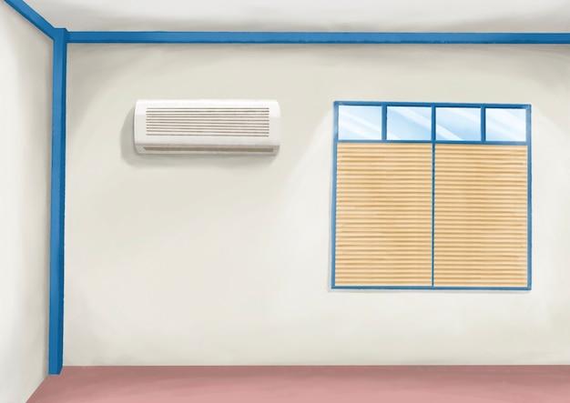 Parete interna del soggiorno della camera da letto con tende da sole e condizionatore d'aria