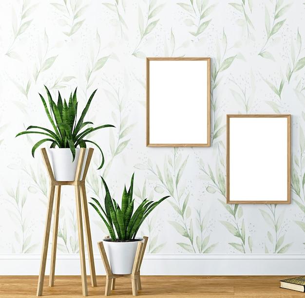 Mockup parete soggiorno interno verde
