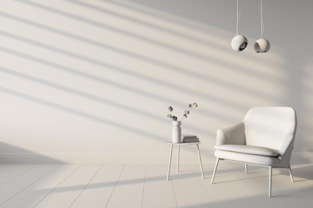L'interno del soggiorno con copia spazio sul muro bianco
