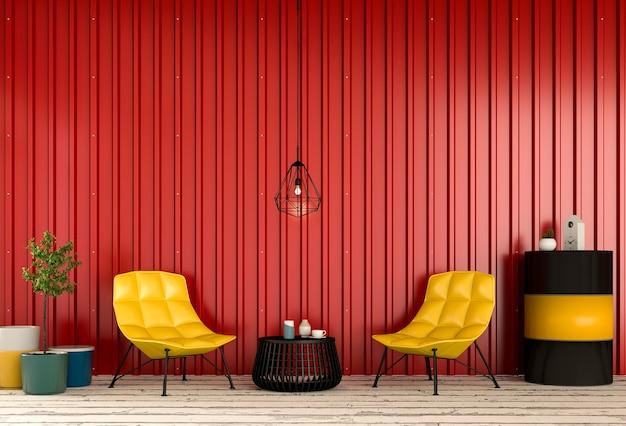 Salone interno con parete in lamiera. rendering 3d