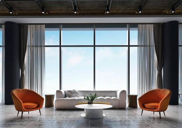 L'interno e la decorazione simulata e il design della stanza vuota e lo sfondo con vista sul mare