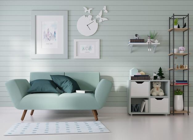 Mockup interno una cornice è fissata su un divano blu in una stanza con doghe blu sul muro