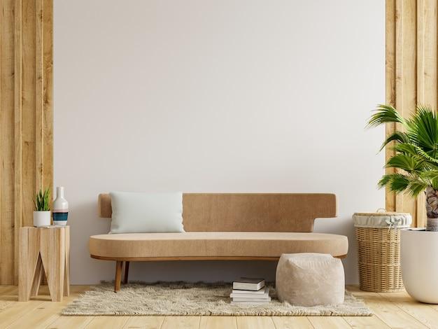 Mockup interno con divano in soggiorno con sfondo bianco vuoto della parete. rendering 3d