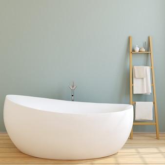 Interno del bagno moderno con parete blu e pavimento in legno. rendering 3d.
