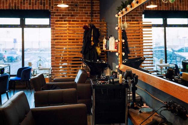 Interno di un moderno salone di bellezza. industria della bellezza.