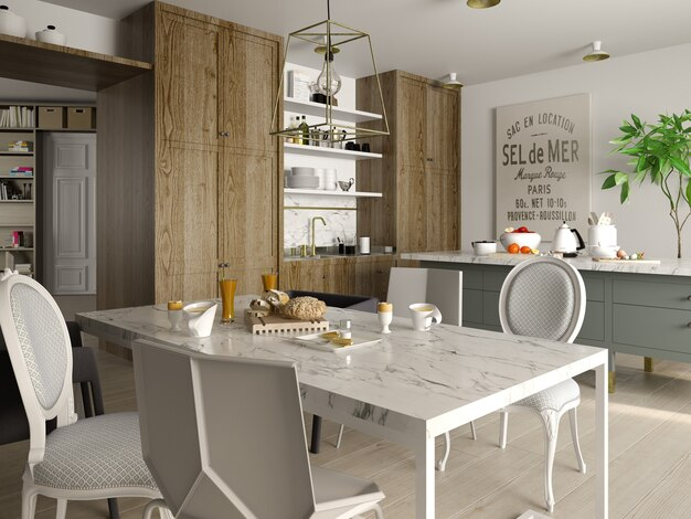 Interno della moderna sala da pranzo 3d rendering