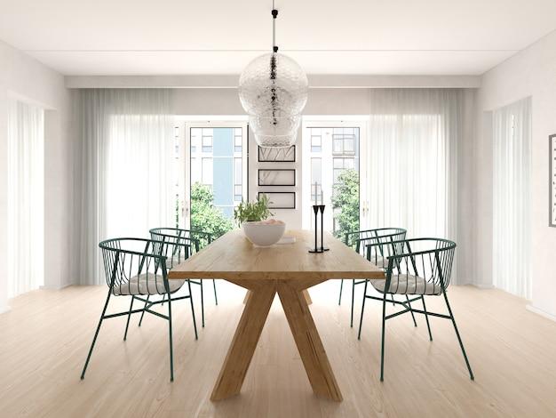 Interno del soggiorno moderno con divano e mobili 3d rendering