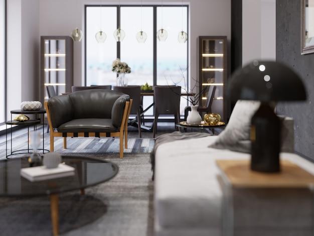 Interno di un moderno monolocale con zona pranzo e tavolo da pranzo. poltrona di design nera in stile loft. effetto profondità di campo. rendering 3d