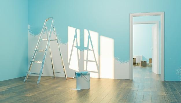 Interno di una nuova casa con barattolo di vernice e mezza parete dipinta con scale e contenitori per il trasloco nella stanza sul retro. rendering 3d