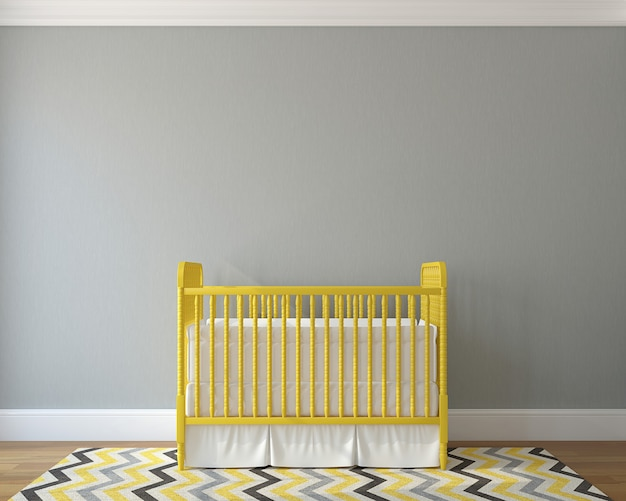 Interno della scuola materna con presepe vintage giallo. rendering 3d.