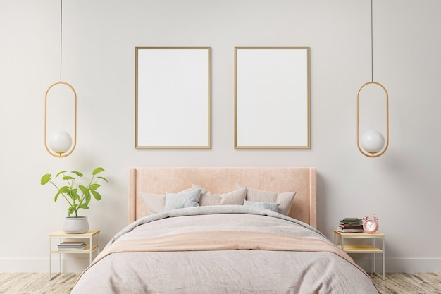Poster interno mock up con due cornici verticali sul muro all'interno della camera da letto di casa.