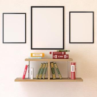 Sala di lettura interna. libri sullo scaffale. rendering 3d