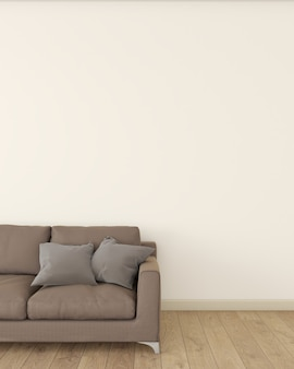 L'interno della stanza è decorato con un divano marrone su un pavimento in legno.
