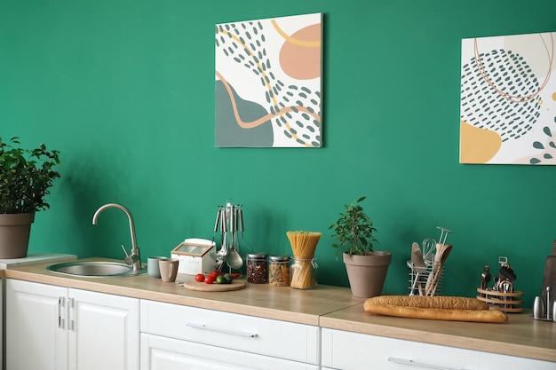 Interno della cucina moderna ed elegante stylish