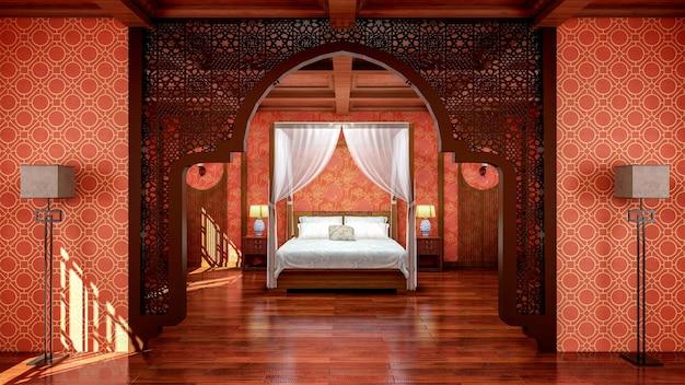 Interno della camera da letto in stile cinese tradizionale con mobili e pavimento in legno