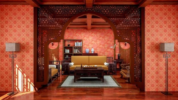 Interno del soggiorno in stile cinese tradizionale con mobili e pavimento in legno