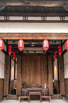 Vista interna dell'antica lobby in stile cinese chinese
