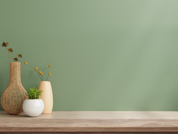 Modello di parete interna, parete verde e mensola. rendering 3d