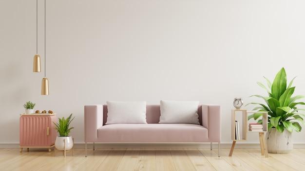 Mockup di parete interna con muro bianco vuoto, divano rosa su pavimento in legno e muro bianco