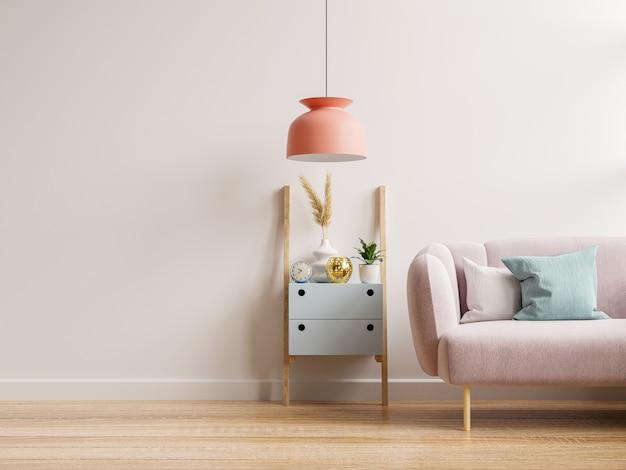 Modello di parete interna con divano e armadio in soggiorno con sfondo bianco vuoto della parete. rendering 3d