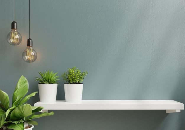 Parete interna con pianta verde e mensola. rendering 3d