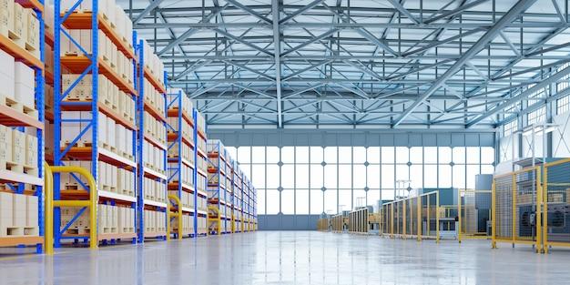 Interno del magazzino nel centro logistico, rendering 3d