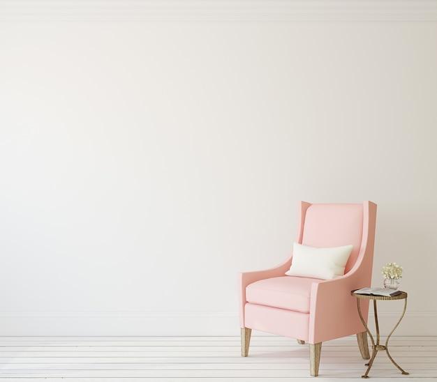 Interno con poltrona rosa vicino al muro bianco. rendering 3d.
