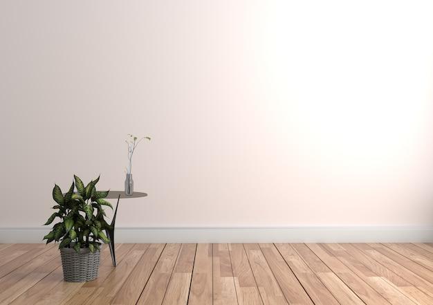 Interno con le piante sul fondo vuoto della parete, rappresentazione 3d