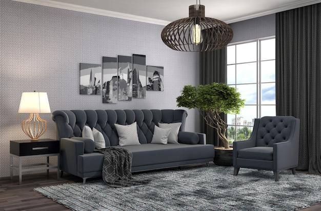 Interno con divano. illustrazione 3d