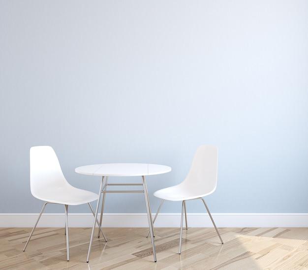 Interno con tavolo e due sedie bianche vicino alla parete blu vuota. rendering 3d.
