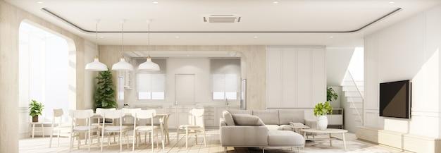 Interni su pavimento in legno con parete caratteristica classica bianca in una grande stanza a casa minimale e finestra lucernario di soggiorno pranzo e cucina con mobili in stile accogliente 3d render panorama