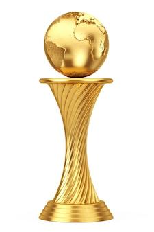 Concetto di premio internazionale. golden award trophy earth globe su uno sfondo bianco. rendering 3d.