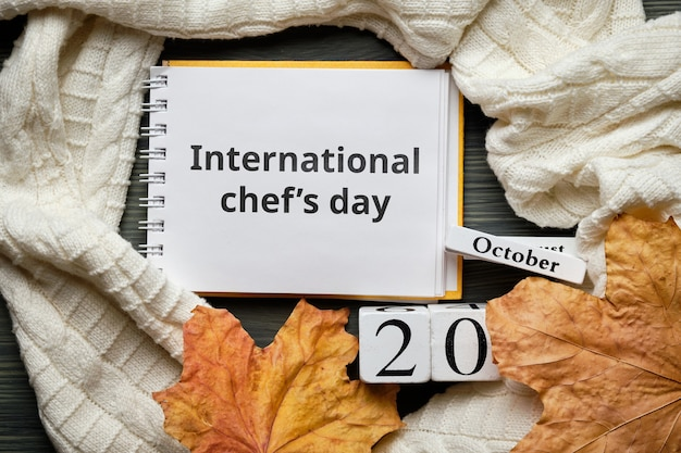 Giorno dello chef internazionale del calendario del mese autunnale ottobre.